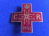 Insignă regalistă -Insignă România- Crucea Roșie Societatea Regina Elena-1941(2)