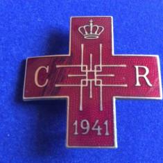 INSIGNA REGALISTA - CRUCEA ROSIE SOCIETATEA REGINA ELENA - 1941