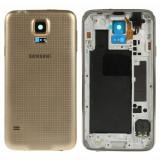 Cumpara ieftin Carcasa Spate Samsung Galaxy S5 G900 Cu Corp Mijloc Si Capac Baterie Originala Aurie