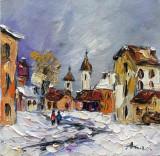 Tablou ulei (15/15 )-PEISAJ CITADIN, Flori, Impresionism