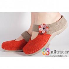Papuci de casa Ledi rosu cu bej din lana cu gel pe talpa (cod 431-105)
