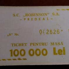 Bon masa 100.000 lei Hotel Robinson, Predeal
