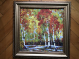 Tablou,pictura germana in ulei pe lemn,peisaj de toamna, Natura, Altul
