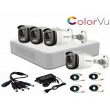 Cumpara ieftin Kit 4 camere supraveghere ColorVU FullTime FullHD 2MP HikVision + DVR 4 canale TurboHD 1080p HikVision + Sursa + Cablu