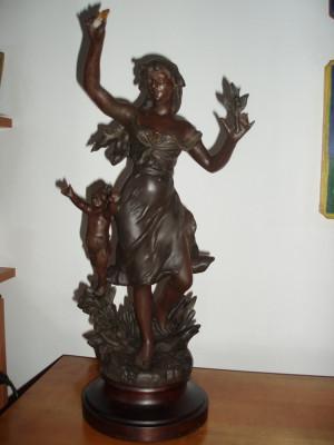 "Statueta antimoniu Franta SEC XIX ""Tanara cu amoras (Putto)"" - SEMNATA foto"