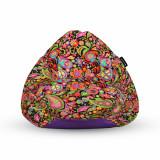 Cumpara ieftin Fotoliu Units Puf (Bean Bag) tip para, impermeabil, cu maner, 80 x 90 x 68 cm, hippie peace
