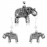 Cumpara ieftin Set din argint 925, cercei și pandantiv - elefant cu gravuri și patină neagră