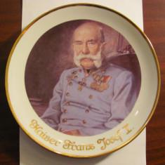 "Farfurie veche portelan (Roslau Bavaria) ""Kaiser Franz Josef I"" marcaj 1950 - 79"