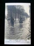 Carte postala Paris, Boulevard Saint Germain, inundatii, 1910