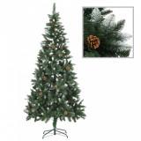 vidaXL Brad de Crăciun artificial cu conuri pin și sclipici alb 210 cm