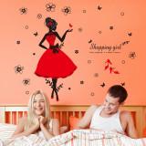 Sticker perete autocolant shopping girl stickere livingroom