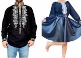 Cumpara ieftin Set Cuplu Traditional 73 Camasa Traditionala si Rochie cu motive traditionale