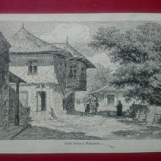Gravura Bucuresti casa turceasca/decupata din carte  14x11 cm