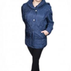 Jacheta de dama bleumarin, de toamna-iarna, gluga detasabila