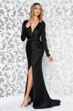 Rochie Ana Radu neagra de lux tip sirena din material satinat cu decolteu adanc accesorizata cu cordon