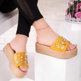 Papuci cu platforma dama galbeni cu bej Paricela