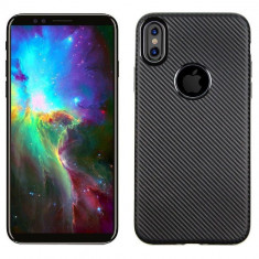 Husa Apple iPhone X i-Zore Carbon Fiber Negru