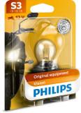 Bec moto blister pachet 1 bucata S3 12V 15W P26S Vision Moto, Philips