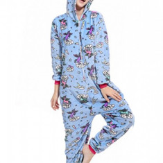 PJM142-4 Pijama pufoasa intreaga cu model unicorn
