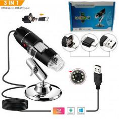Microscop Digital 1000x USB 3.0  Cu Interfata Convertibila 3 In 1 - 2MP