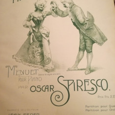 Marquis et marquise, menuet pour piano par Oscar  Spiresco