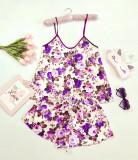 Cumpara ieftin Pijama dama ieftina primavara-vara alba din satin lucios cu imprimeu floral mov