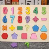 Cumpara ieftin Puzzle incastru din lemn cu cifre de la 0 la 9 si forme geometrice.