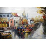 Peisaj cu un rau- pictura in ulei PC-78, Peisaje, Realism