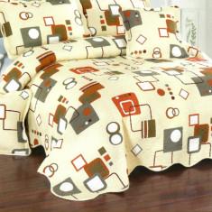 Cuvertura de pat + 4 Fete de Perna - Pat 2 Persoane - 100% Bumbac - E-S51
