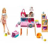 Cumpara ieftin Set de joaca Barbie - Magazin accesorii animalute cu papusa, Mattel