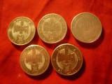 Set 5 Monede aluminiu 1000 lei 2000-2004 , cal. apr. NC