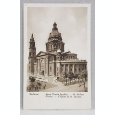 BUDAPESTA , BISERICA SFANTUL STEFAN , CARTE POSTALA ILUSTRATA , MONOCROMA, NECIRCULATA , DATATA 1924