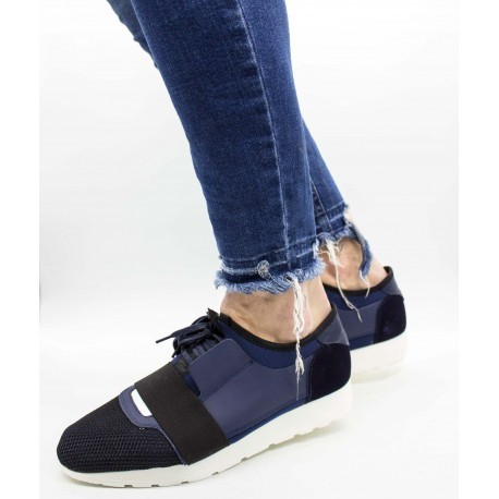 Pantofi piele naturală 532 Albastru 44