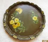 Pictura cu flori galbene.Disc/farfurie decorativa lucrata manual.Vintage