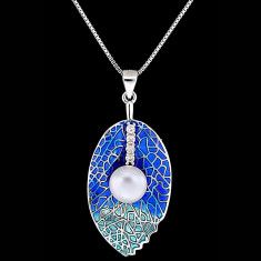 Colier din Argint 925 cu Perla Naturala si Diamante, Azure
