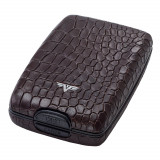 Portofel piele Croco Brown Tru Virtu Cash & Cards - Leather Line, Maro, Port card