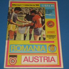 Program meci fotbal ROMANIA (juniori) - AUSTRIA (juniori) 01.11.1989