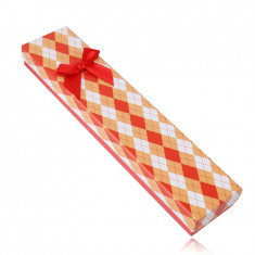 Cutie cadou pentru un lanț sau o brățară - model chequered, arc roșu