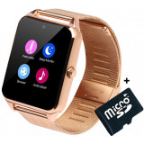 Ceas Smartwatch cu Telefon iUni GT08s Plus, Curea Metalica, Touchscreen, Camera, Gold + Card MicroSD 4GB