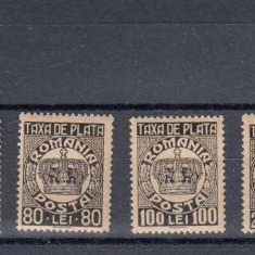 ROMANIA  1946/47  TAXA  DE  PLATA  COROANA (CU FILIGRAN) SERIE MNH