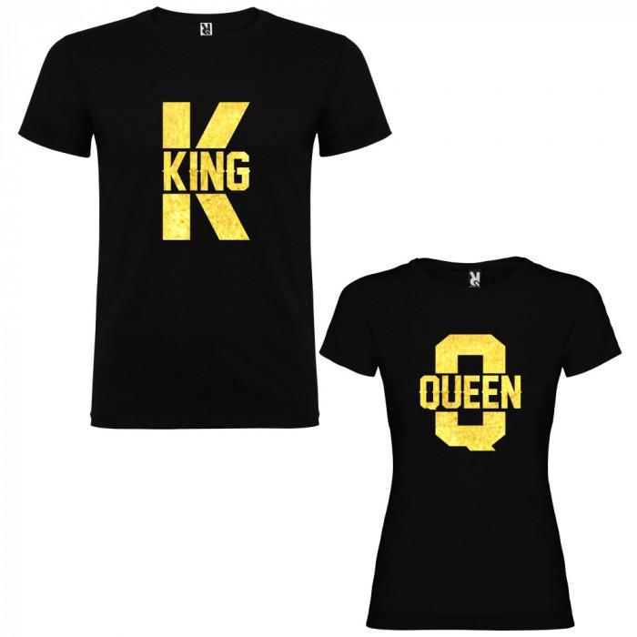 Set 2 Tricouri cuplu King K si Queen Q, negru/auriu