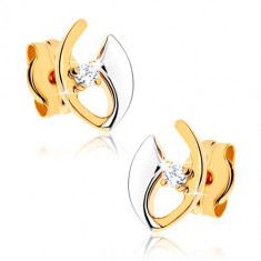 Cercei din aur de 14K - diamant în contur incomplet de bobiță