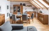 Cumpara ieftin Set de mobila dining din lemn si furnir, 6 piese Montenegro Stejar Rustic