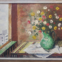 Vaza cu flori// ulei pe panza, semnat OB