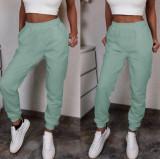 Pantaloni dama lungi verzi de tip jogger din bumbac cu elastic si buzunare