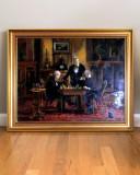 Jucatorii de sah tablou cu barbati jucand sah. Pictura ulei pe panza 57x45cm, Portrete, Realism