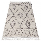 Covor Berber Fez G0535 cremă si maro Franjuri shaggy pletos, 70x200 cm