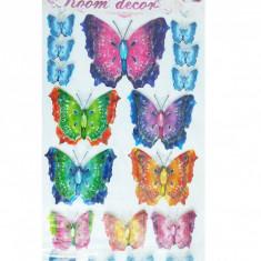 Sticker decorativ 5D Fluturi colorati Model 9 + Cadou set Stiker fosforescente