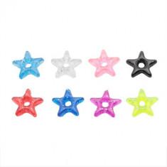 Stea acrilică colorată, cu sclipici - pandantiv pentru piercing - Culoare: Albastru Deschis