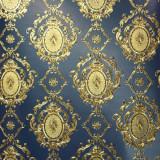 Tapet clasic auriu, albastru, dormitor, vinil, extralavabil, Royal 96705